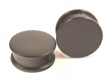 Ebony flat flare plugs - 22 mm