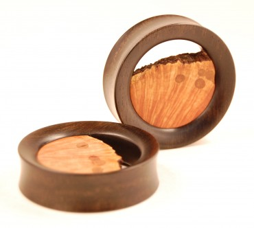 Natural tunnels - ebony and briar root - 44 mm
