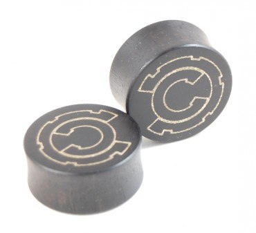 Custom engraved ear plugs - Ebony/bonze - 27 mm