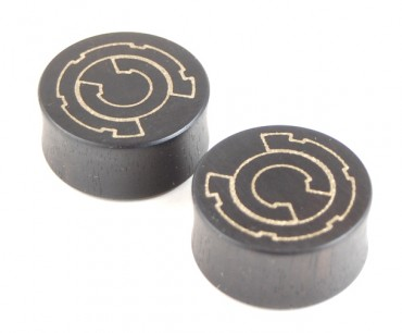 Custom engraved ear plugs – Ebony/bonze – 27 mm