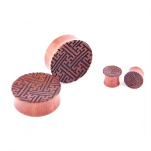 Plugs sayagata swastika #3 - bloodwood - 10 to 65 mm
